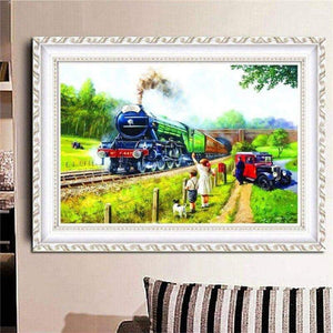 5D Diamond Painting Full Drill Train In The Country