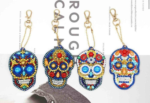 Unique Skull Diamond Art Keychain Set (4pcs)