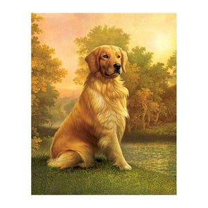 5D Adorable Golden Retriever Diamond Painting Full Square Drill