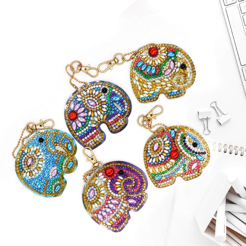 Cute Elephant Diamond Painting Keychain Set (5pcs)