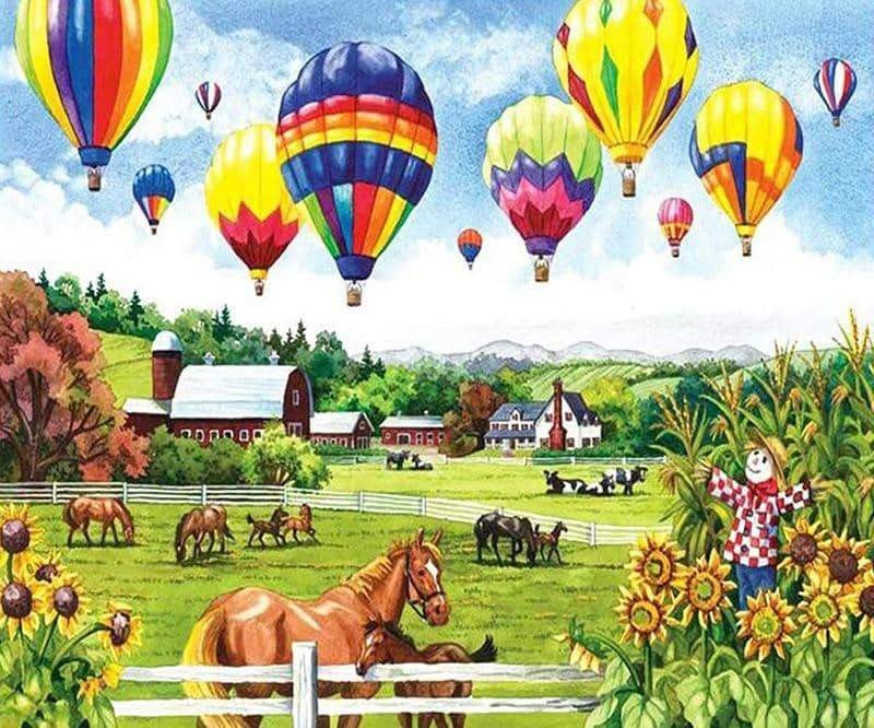 Hot Air Balloon 5D Painting Full Drill Round Diamonds.
