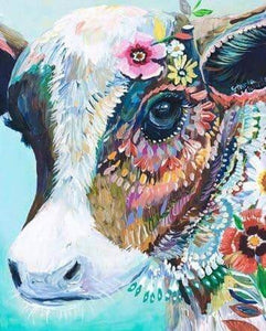 5D Flora Cow Diamond Art Painting
