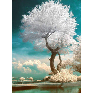 5D DIY Unique White Tree Full Diamond Painting