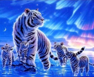Full Drill 5D Diamond Painting White Tigers