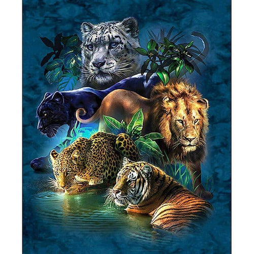 5D Premium Five Big Cats Diamond Art Painting