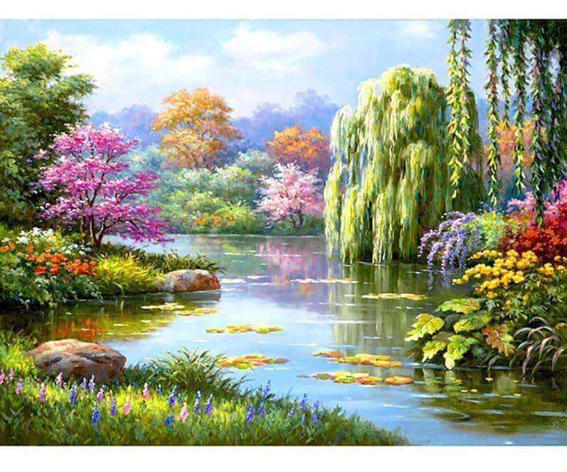 Beautiful Full Square Drill 5D Diamond Painting Spring Tree