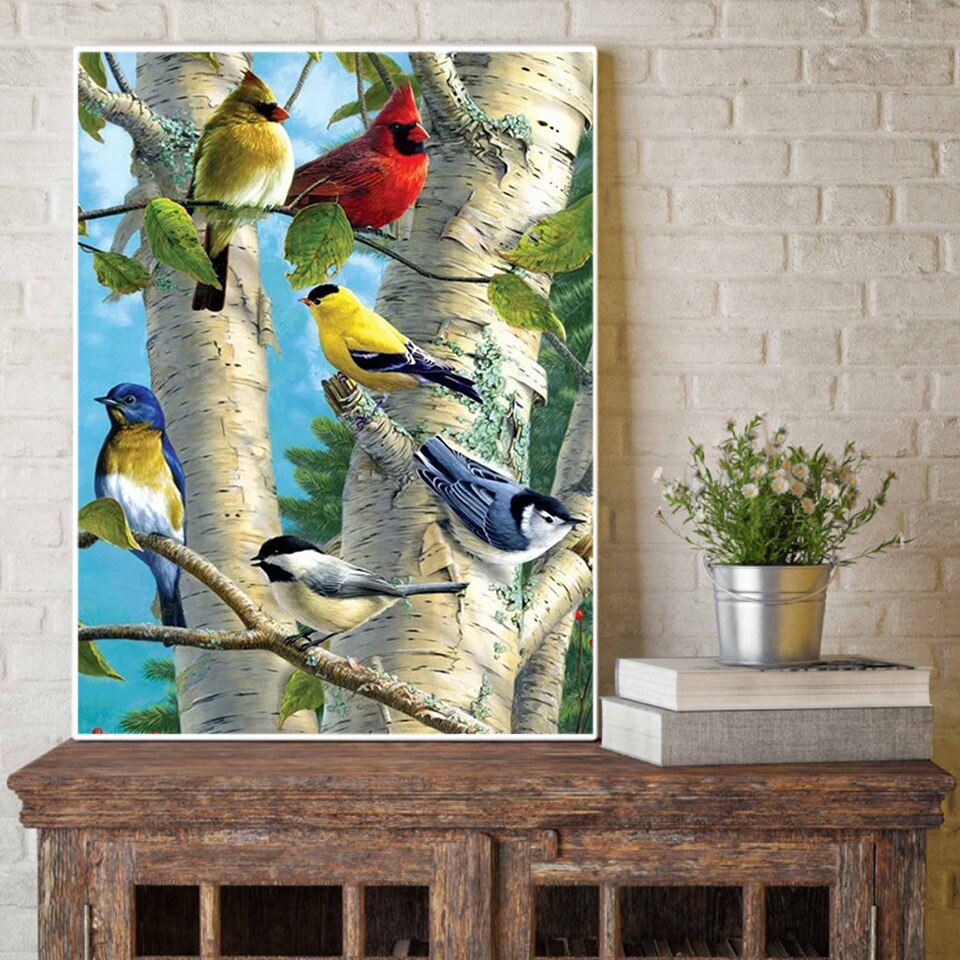 Full Coverage 5D Lovely Cardinal Birds Diamond Art Painting