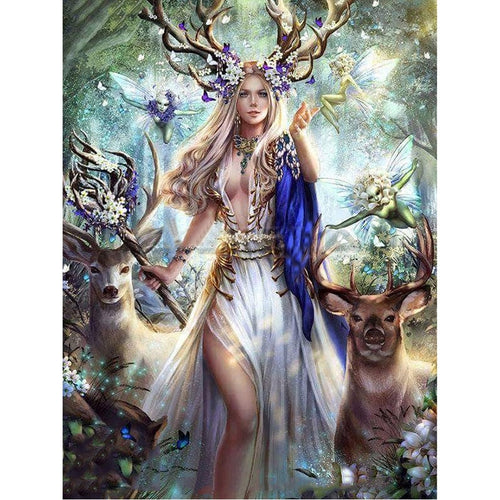 DIY Gorgeous Fairy & Deer 5D Diamond Art Painting Kit