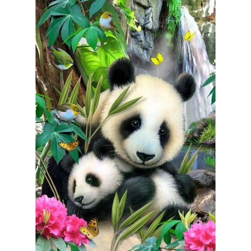 Full Square Drill 5D Diamond Painting Panda And Baby Panda