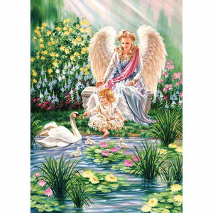 Beautiful 5D DIY Angel Girl Feeding Swan Diamond Art Painting Kit