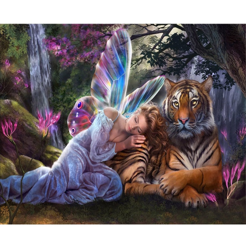 "5D Full Square ""Butterfly Fairy Tiger"" Diamond Art Painting"