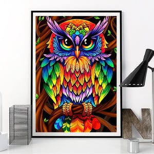 5D Full Drill Rainbow Color Diamond Painting Animal Owl