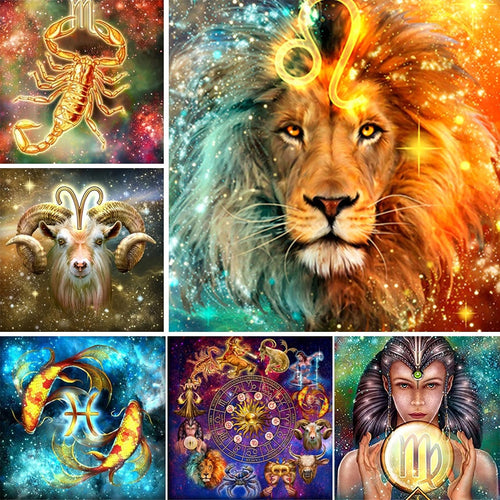 5D DIY 12 Zodiac Constellations Full Square Diamond Art Painting