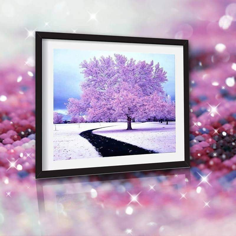 Beautiful Purple Tree 5D Square Diamond Full Drill - New Arrival