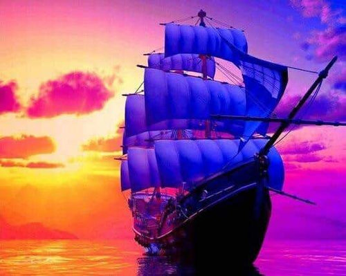 5D Diamond Full Round Painting Sailboat With Sunset