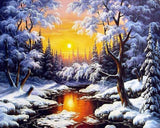 5D Winter Snowy River Diamond Painting