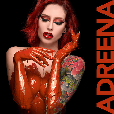 Adreena Angela in burnt orange by Nick Saglimbeni for Painted Princess Project