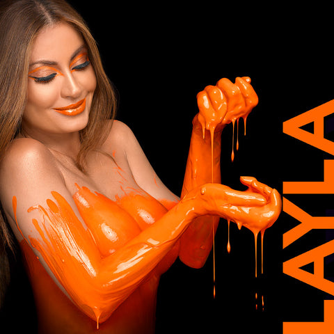 Layla Kayleigh in orange by Nick Saglimbeni for Painted Princess Project