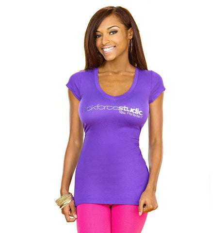 SlickforceStudio Baby Doll V-neck Purple Tee