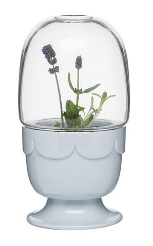 Planter on Stand w/ Glass Dome in Lavender Blue design by Sagaform