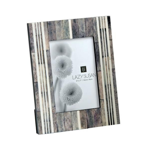 Grey & White Horn and Bone 5 x 7 Picture Frame design by Lazy Susan