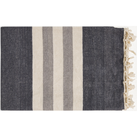 striped charcoal throw blanket by surya