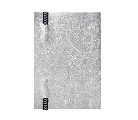 Paseo Embossed Silver Notebook design by Christian Lacroix