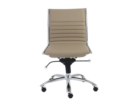 Dirk Low Back Office Chair Armless in Taupe design by Euro Style