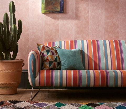 Manarola Stripe Wallpaper in turquoise from the Manarola Collection by Osborne & Little