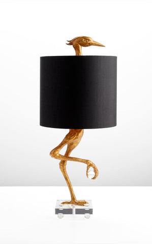 Ibis table lamp with black satin shade design by cyan design
