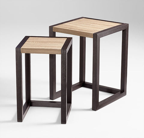 Becket Nesting Tables in Oak Veneer & Black Veneer design by Cyan Design