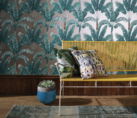 Palmaria Wallpaper in green from the Manarola Collection by Osborne & Little