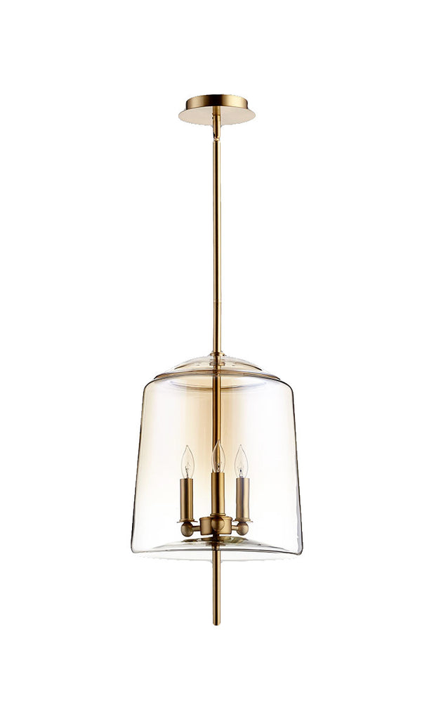 Lusterous 3 Light Pendant in Satin Brass design by Cyan Design