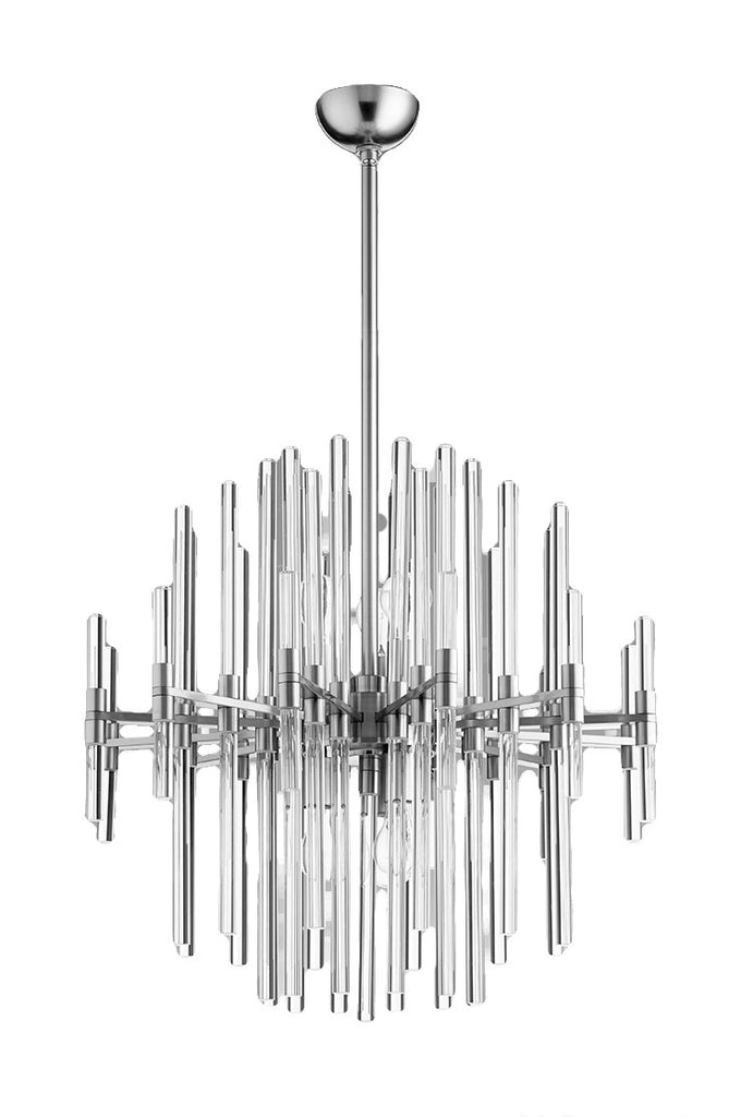 Quebec 6 Light Pendant in Satin Nickel