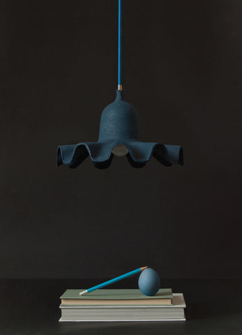 Egg of Columbus Suspended Carton Lamp in Light Blue