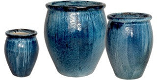Set of Three Lip Planters in Quin Blue design by Emissary