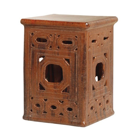 Square Frame Lattice Garden Stool in Brown design by Emissary
