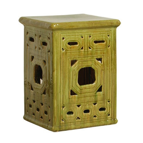 Square Frame Lattice Garden Stool in Moss design by Emissary