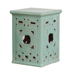 Square Frame Lattice Garden Stool in Turquoise design by Emissary
