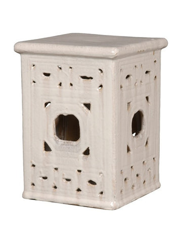 Square Frame Lattice Garden Stool in White design by Emissary