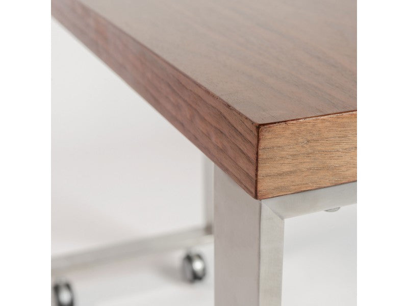 Dillon Side Return in American Walnut & Brushed Stainless Steel design by Euro Style