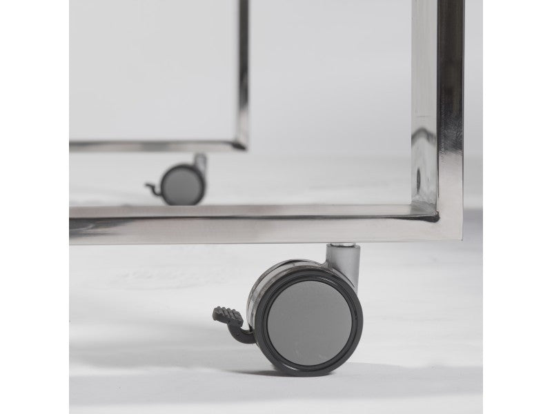 Dillon Side Return in White & Polished Stainless Steel design by Euro Style