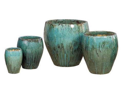 Set of Four Pots in Teal design by Emissary