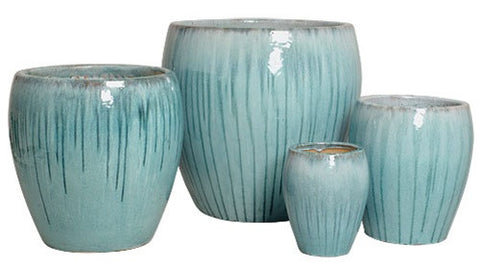 Set of Four Pots in Turquoise design by Emissary