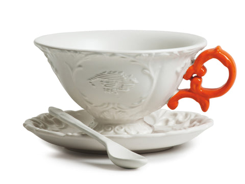 I-Tea Porcelain Tea Cup Set w/ Orange Handle