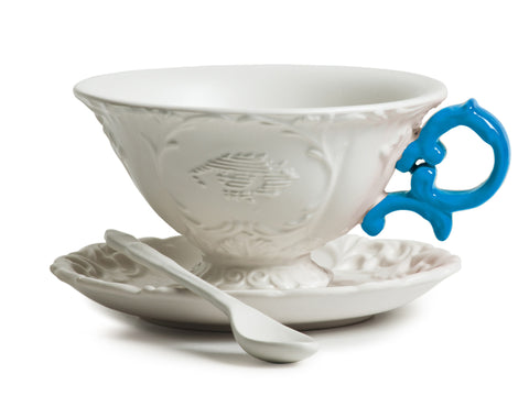 I-Tea Porcelain Tea Cup Set w/ Light Blue Handle design by Seletti