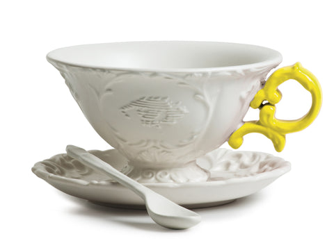 I-Tea Porcelain Tea Cup Set w/ Yellow Handle