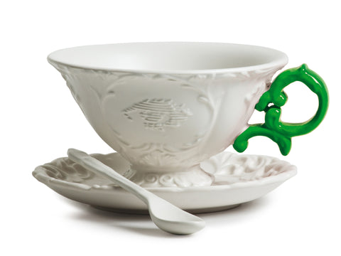 I-Tea Porcelain Tea Cup Set w/ Green Handle design by Seletti