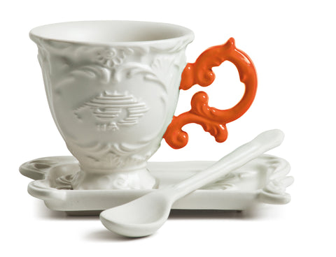 I-Coffee Porcelain Coffee Mug Set w/ Orange Handle design by Seletti