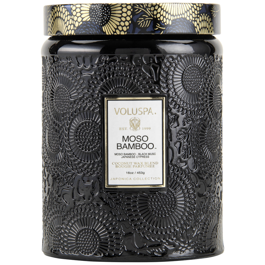 Large Embossed Glass Jar Candle in Moso Bamboo design by Voluspa